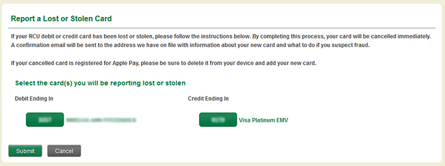 Report a Lost or Stolen Card page