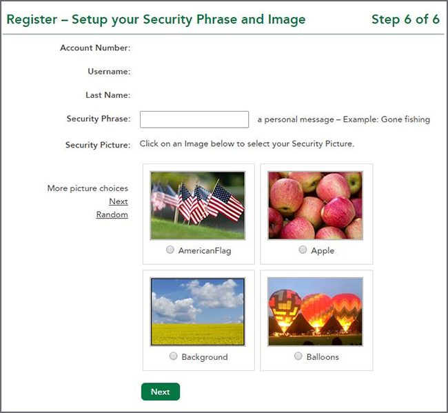 Selecting a Security Picture
