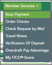 Member Services Menu Stop Payment