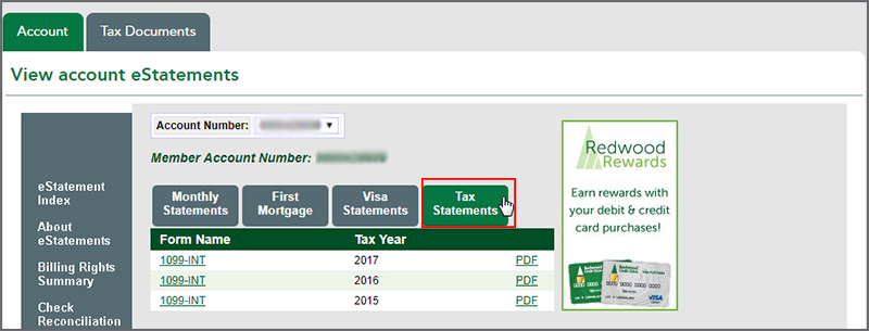 Image of E-Statements Tax Documents tab