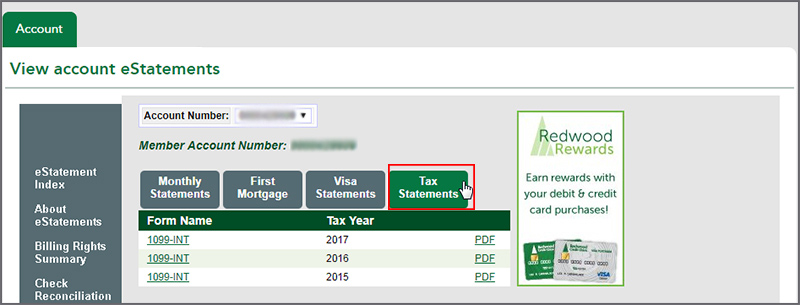Screenshot of Online Banking showcasing the Tax Statements tab