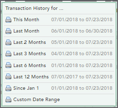 Transaction History Print Options