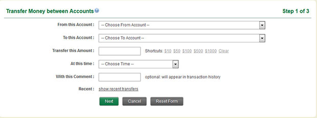 Transfer Money Between Accounts Step 1