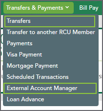 Transfers and External Account Manager listed in the Transfers & Payments menu