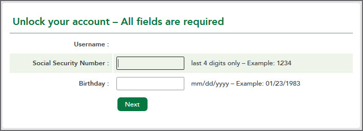 Unlock your account- All fields are required.