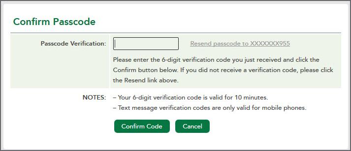 Confirm Passcode