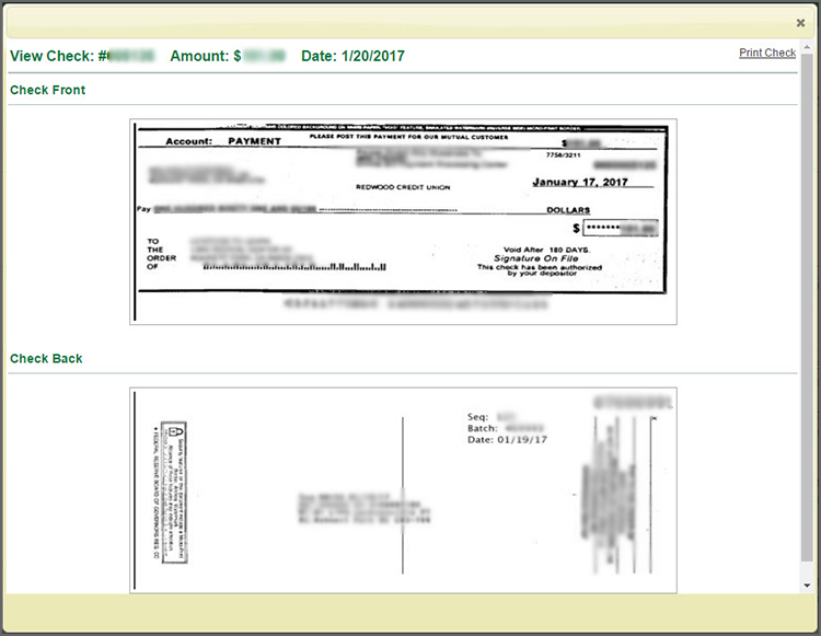 View Check detail page. Image of the front and back of the check.