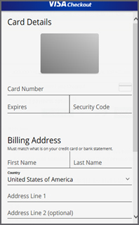 Card Details page enter all your card information.