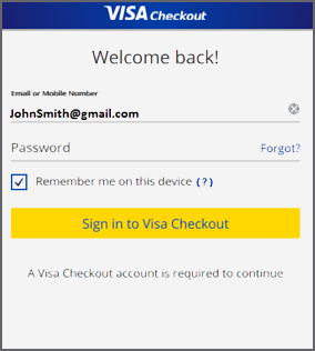 Welcome back to Visa Checkout