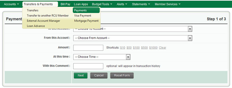 Transfers & Payments Menu